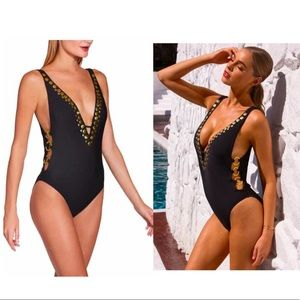 ATHENA Plunging Black One-Piece Swimsuit